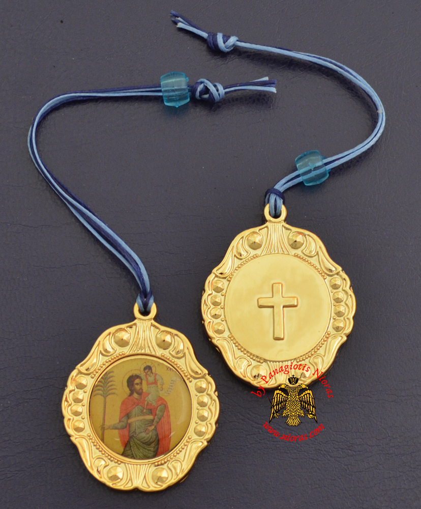 Orthodox Metal Icon Hanging Saint Christopher Sticker Bell Shaped
