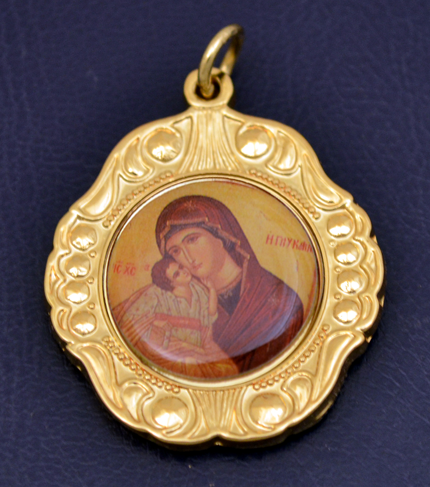Orthodox Bell Shaped Metal Icon Hanging Theotokos Holy Virgin Mary Icon