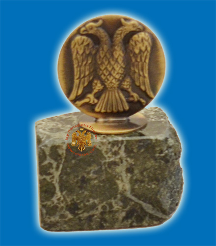 Standing Byzantine Eagle Icon On Marble