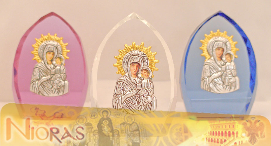 Silver Plated Theotokos Icon on Crystal D