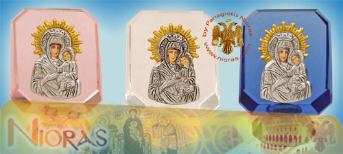 Silver Plated Theotokos Icon on Crystal G