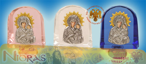 Silver Plated Theotokos Icon on Crystal H