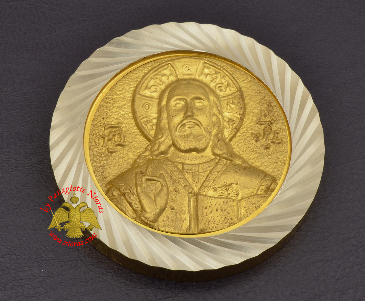 Magnetic Orthodox Icon Jesus Christ in Diamond Cut Golden Aluminum Frame 46mm