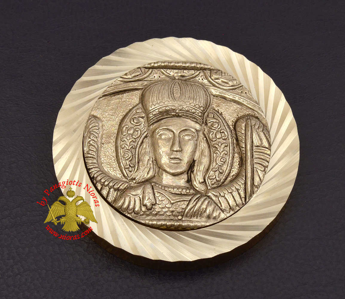 Magnetic Orthodox Icon Archangel Mantamados in Diamond Cut Golden Aluminum Frame 46mm