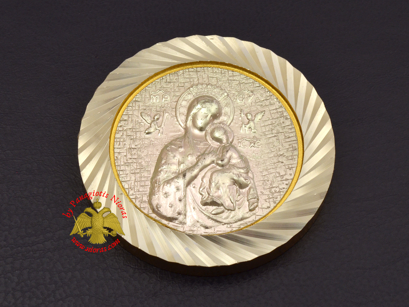 Magnetic Orthodox Icon Theotokos Panagia in Diamond Cut Golden Aluminum Frame 46mm