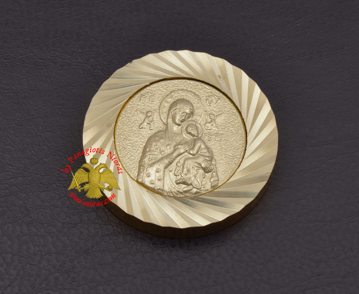 Magnetic Orthodox Icon Theotokos Panagia in Diamond Cut Golden Aluminum Frame 33mm