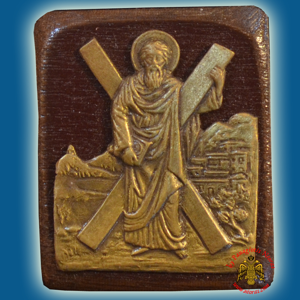 Wooden Orthodox Icon Saint Andrew the Apostle Mangetic or Hanging