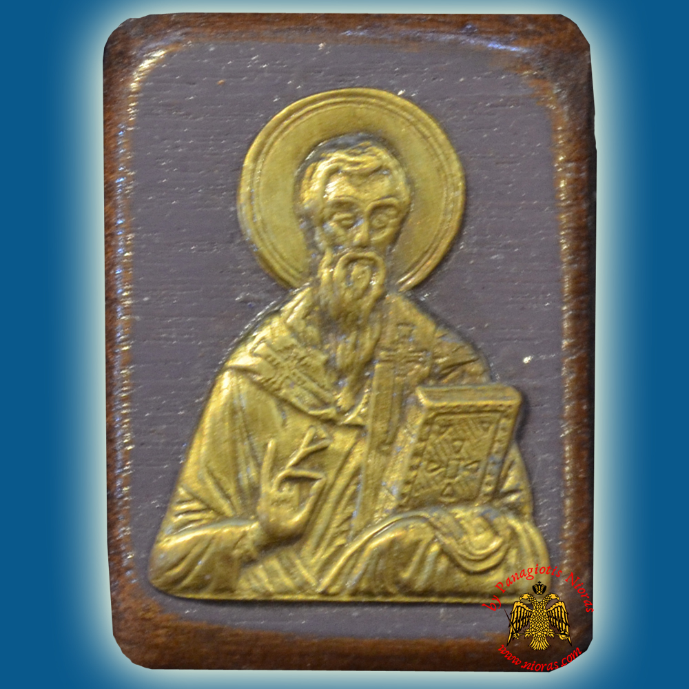 Wooden Orthodox Icon Saint Vasilios the Great Mangetic or Hanging