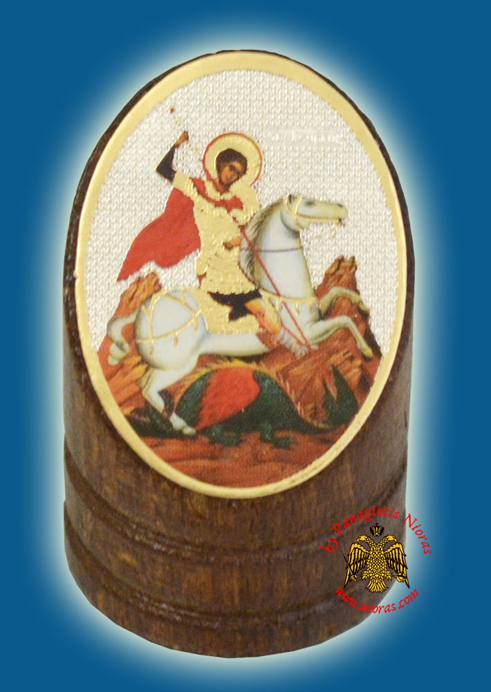 Wooden Orthodox Icon of Saint George 3x4cm