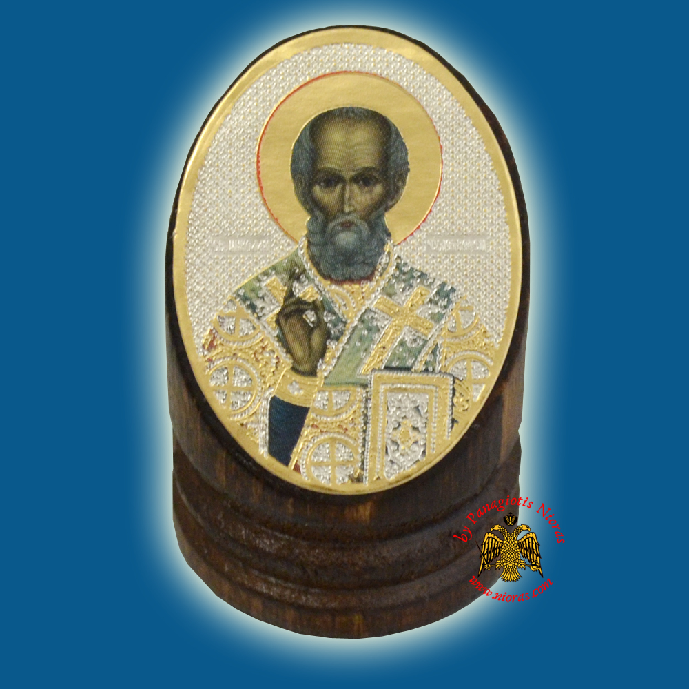 Wooden Orthodox Icon of Saint Nicholas 3x4cm