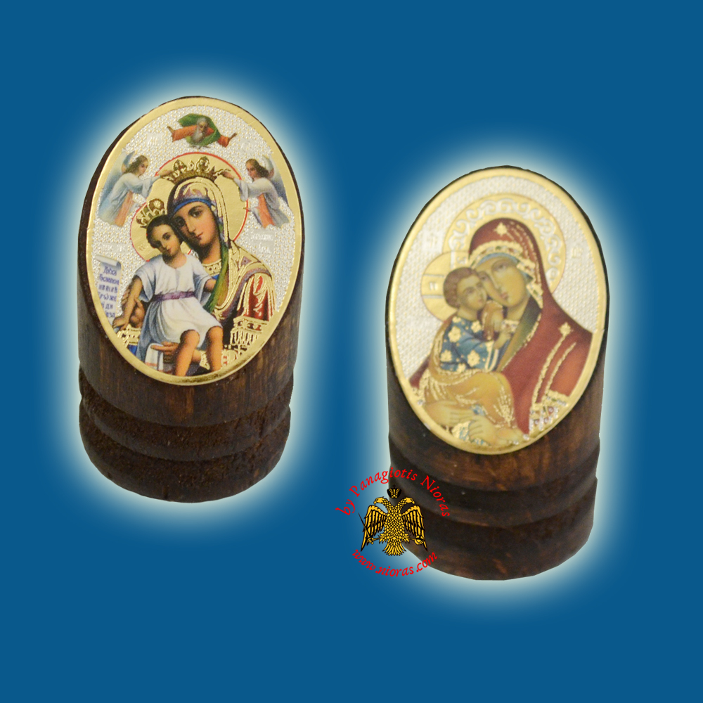 Wooden Orthodox Icon of Theotokos 3x4cm