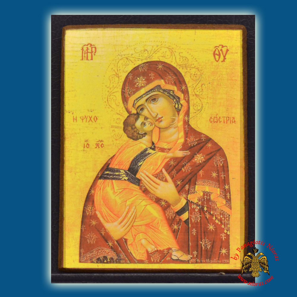 Orthodox Icon Magnets Theotokos Psychosotria Wooden Carved