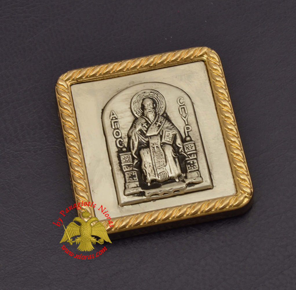 Magnetic Orthodox Icon Saint Spiridon in Golden Frame 35x40mm