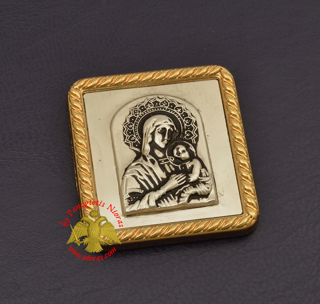 Magnetic Orthodox Icon Theotokos Panagia in Golden Frame 35x40mm