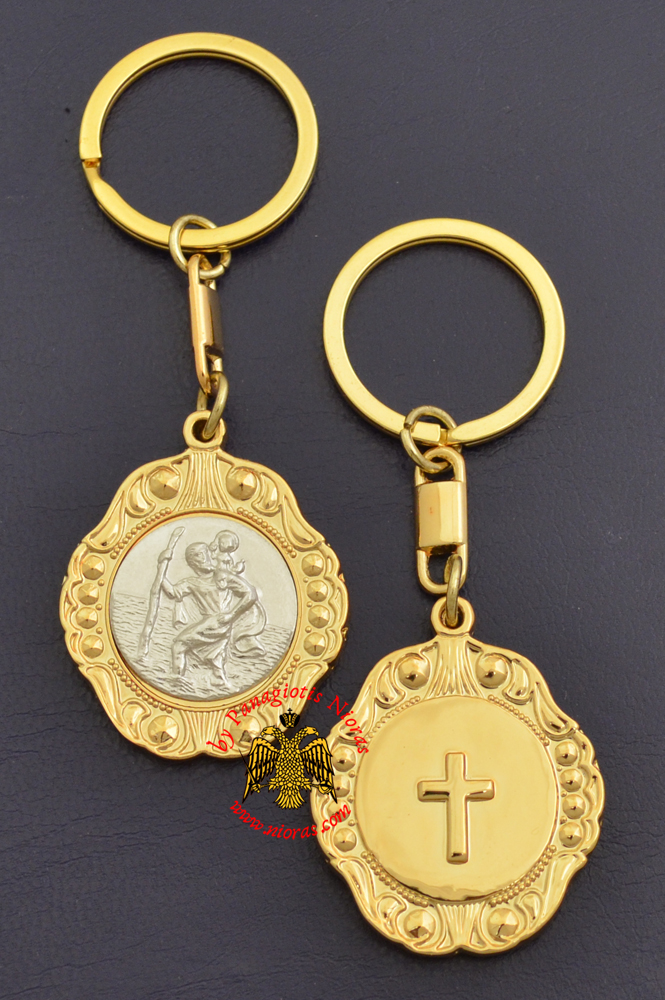 Orthodox Metal KeyHolder Hanging Christopher Icon Bell Shaped