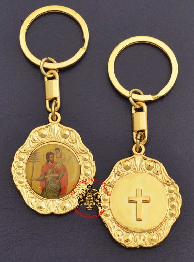 Orthodox Metal KeyHolder Hanging Saint Christopher Icon Bell Shaped