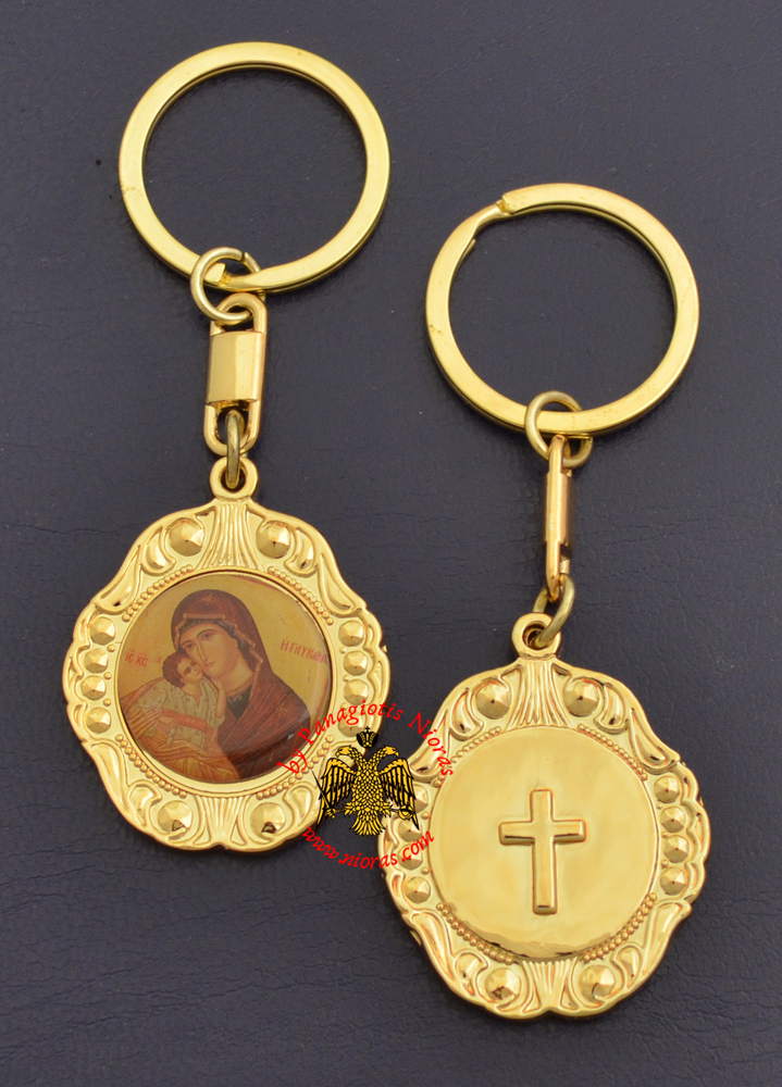 Orthodox Metal KeyHolder Hanging Panagia Sticker Icon Bell Shaped