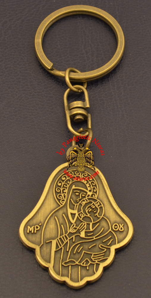Orthodox Theotokos Icon Bell Shaped Antique Key Ring