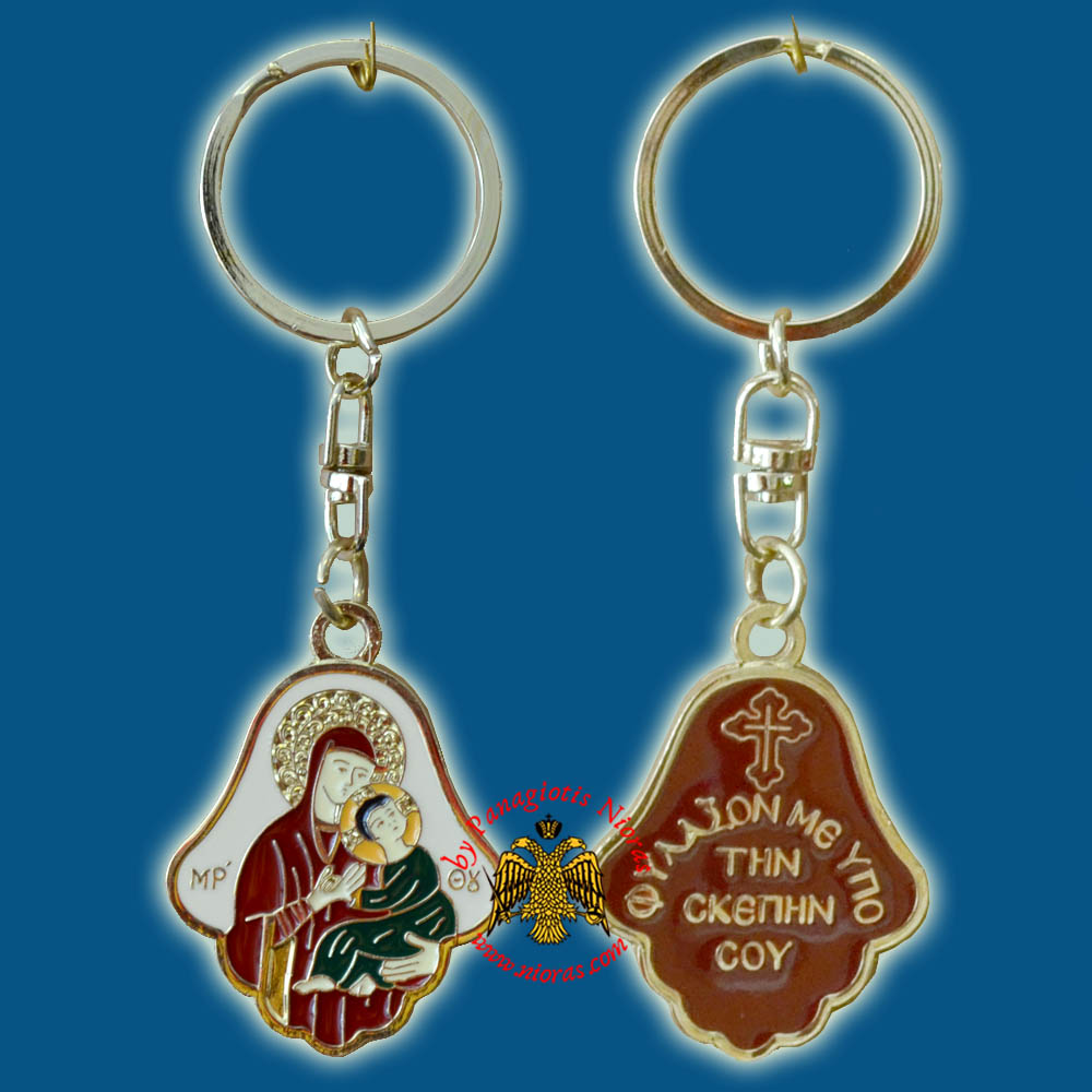 Orthodox Theotokos Icon Bell Shaped Coloured Gold Plated Key Ring