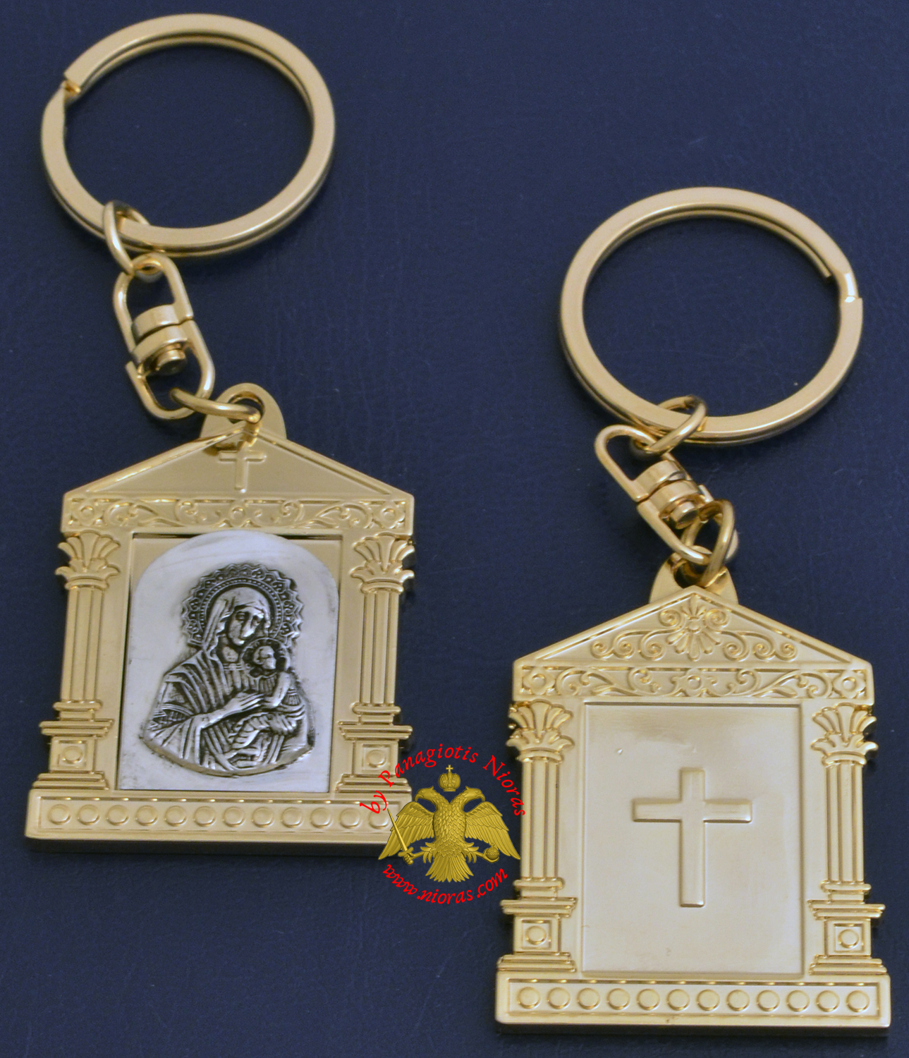 Orthodox Metal Keyring Church Design Gold Plated Panagia Theotokos Holy Icon