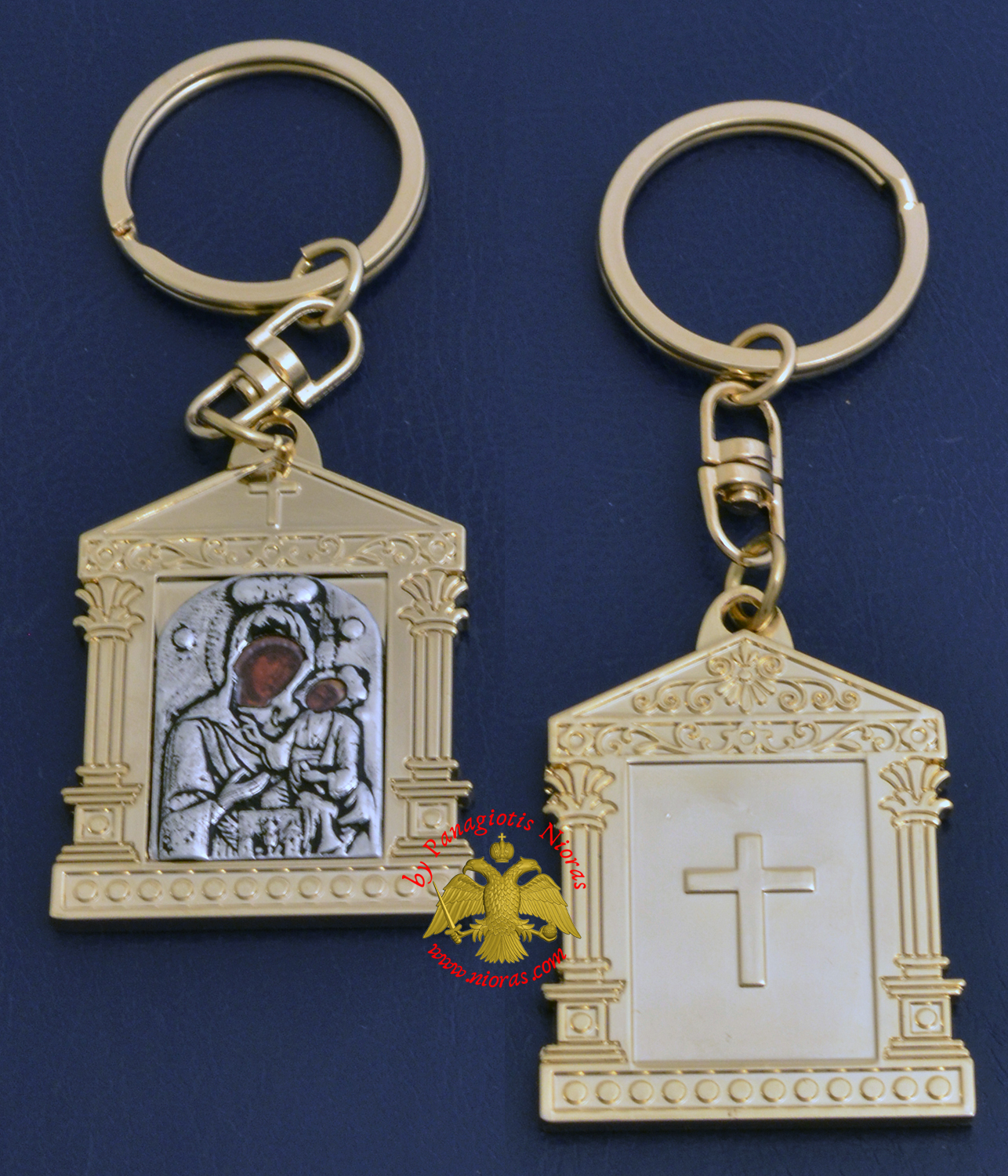 Orthodox Metal Keyring Church Design Gold Plated Panagia of Paros Holy Icon