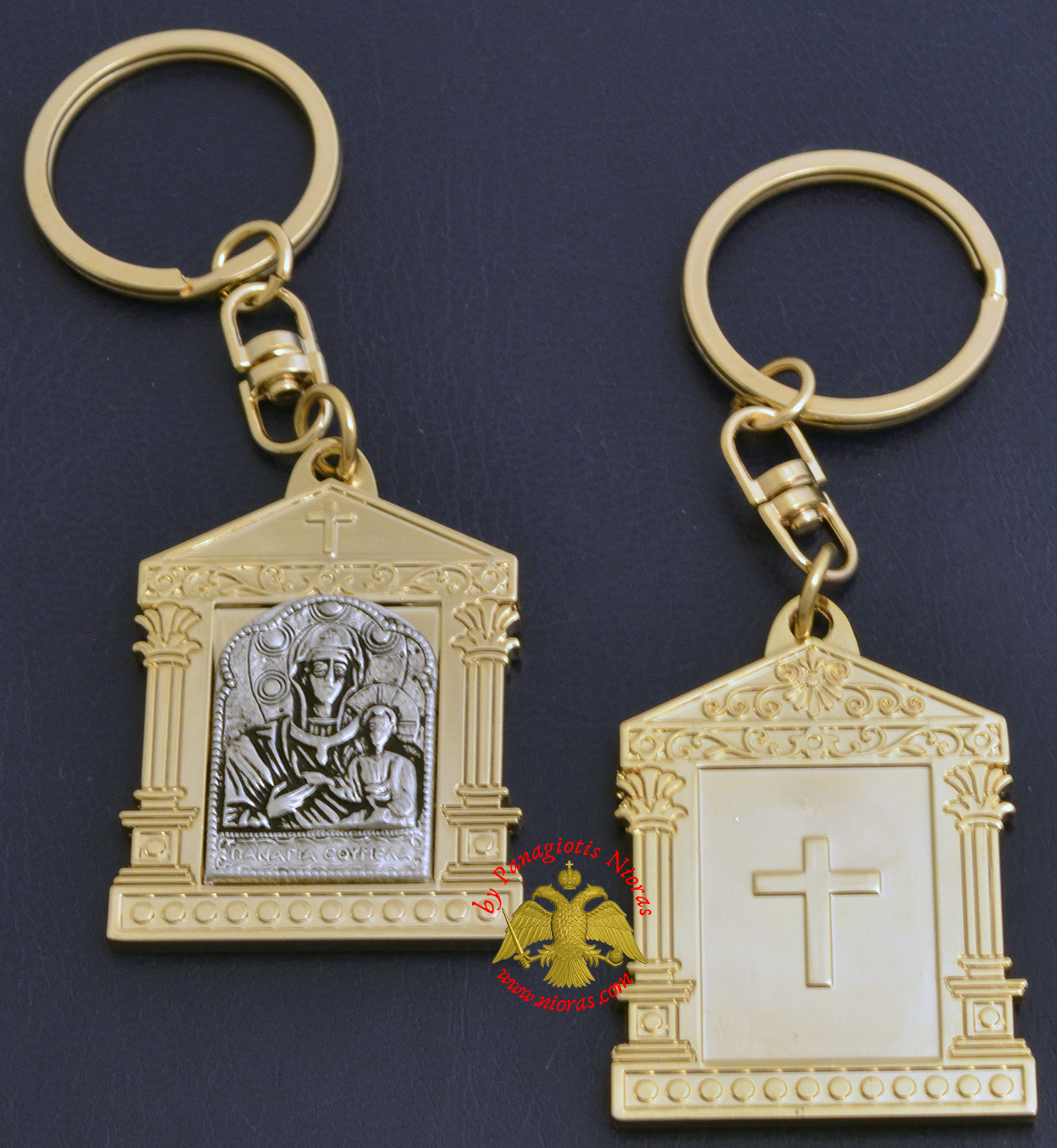 Orthodox Metal Keyring Church Design Gold Plated Theotokos Soumela Holy Icon