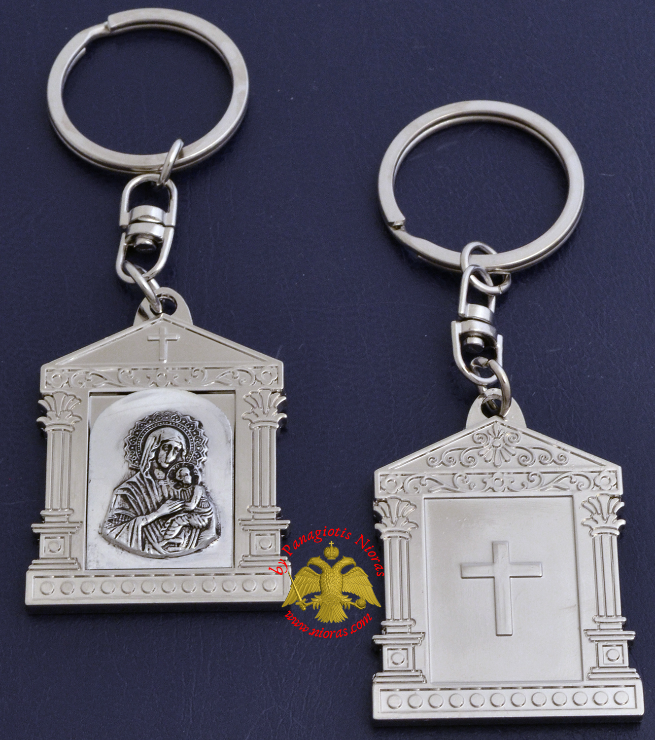 Orthodox Metal Keyring Church Design Nickel Panagia Theotokos Holy Icon