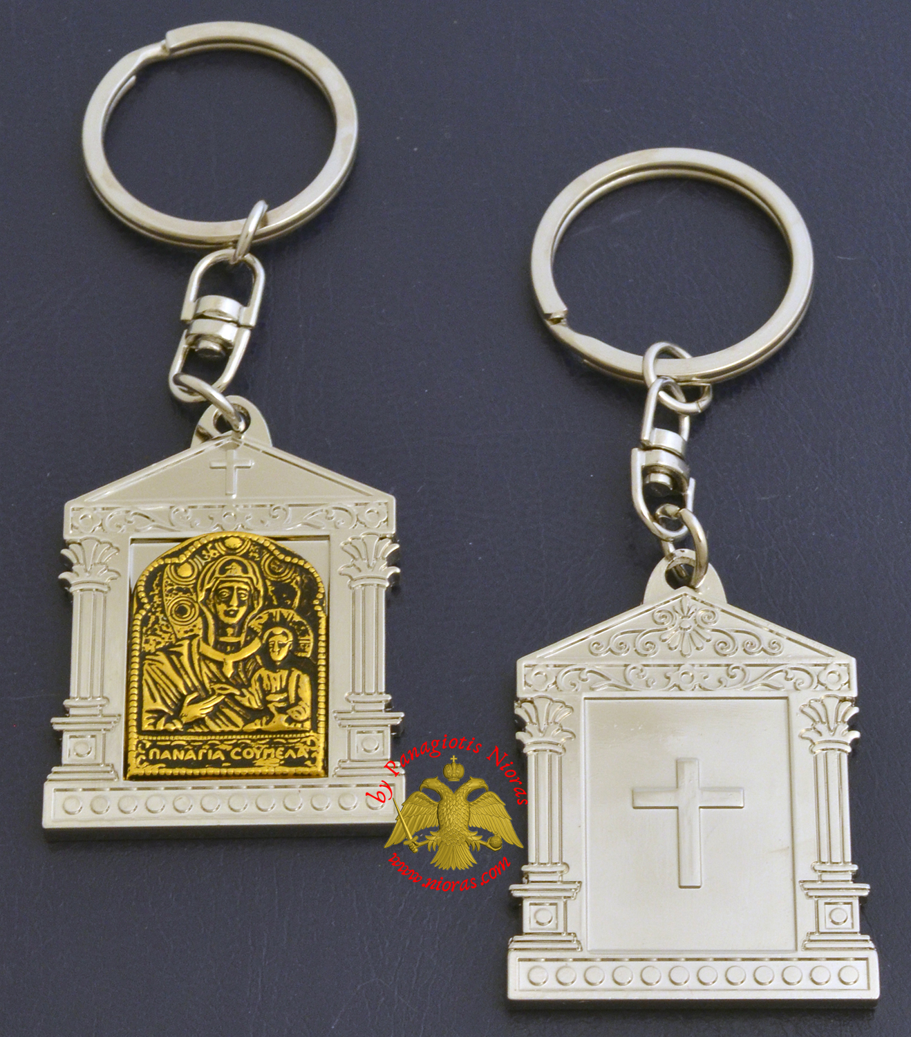 Orthodox Metal Keyring Church Design Nickel Theotokos Soumela Holy Icon