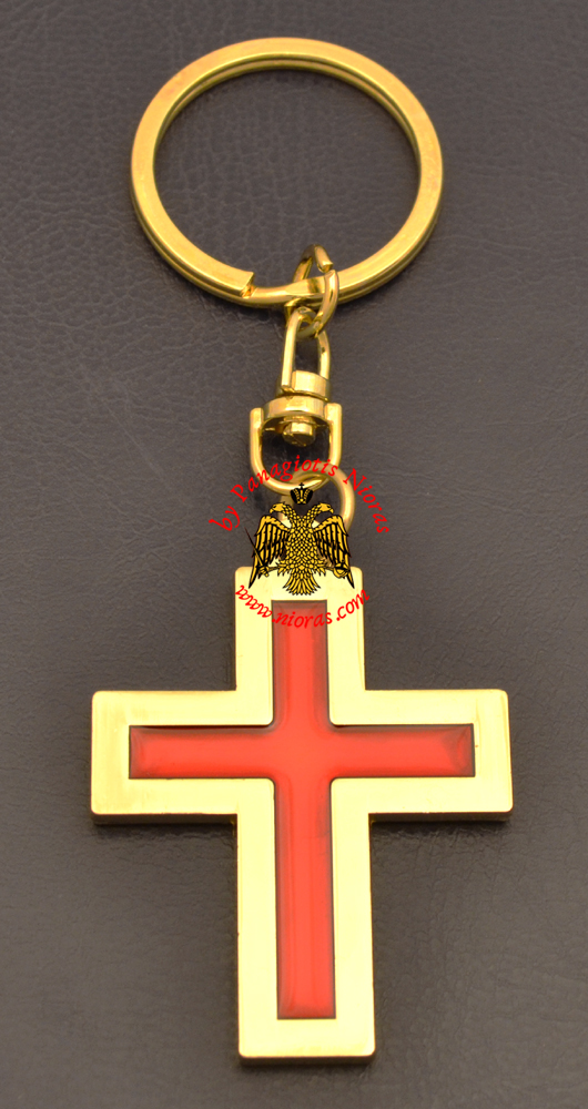 Metal Orthodox Cross Shape Evlogia Gold Plated Key Ring