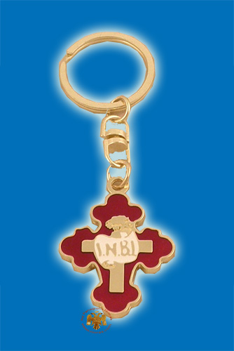 Orthodox Byzantine Metal Cross Gold Plated with Enamel Key Ring