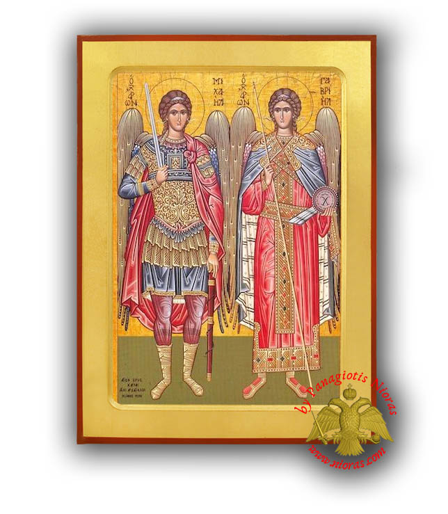 Synaxis of the Holy Archangels Michael and Gabriel, Full Body Byzantine Wooden Icon