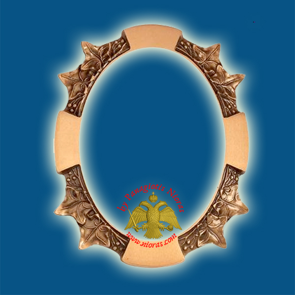 Cenotaph Bronze Metal Frame 11x15cm Oval for Cemetery Vine Design