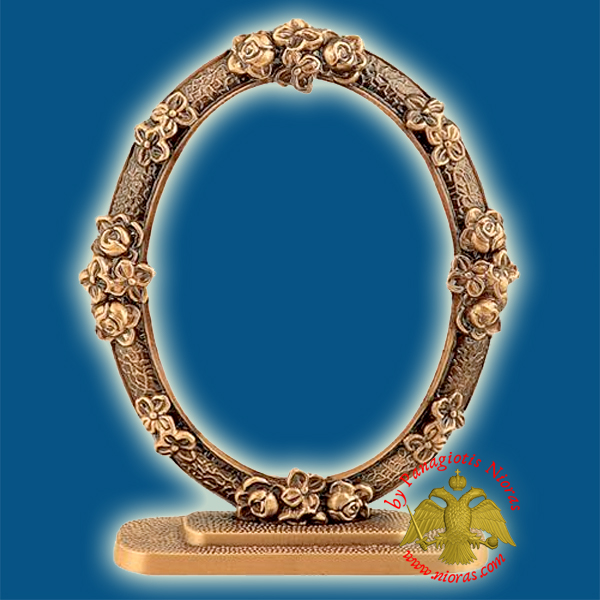 Cenotaph Oval Flowers Style Bronze Metal Frame 11x15cm for Cemetery with Standing Base