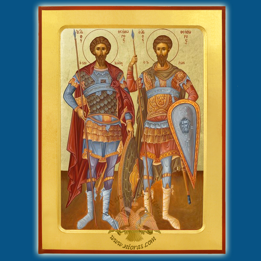 Orthodox Wooden Byzantine Icon Theodores Tiro and Stratelates Full Figure Body