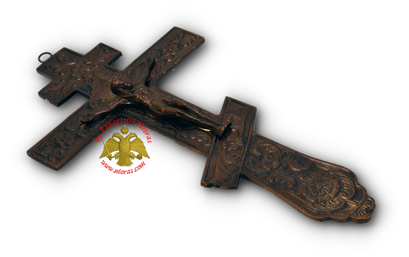 Russian Blessing Metal Cross Antique Finishing 12x22cm