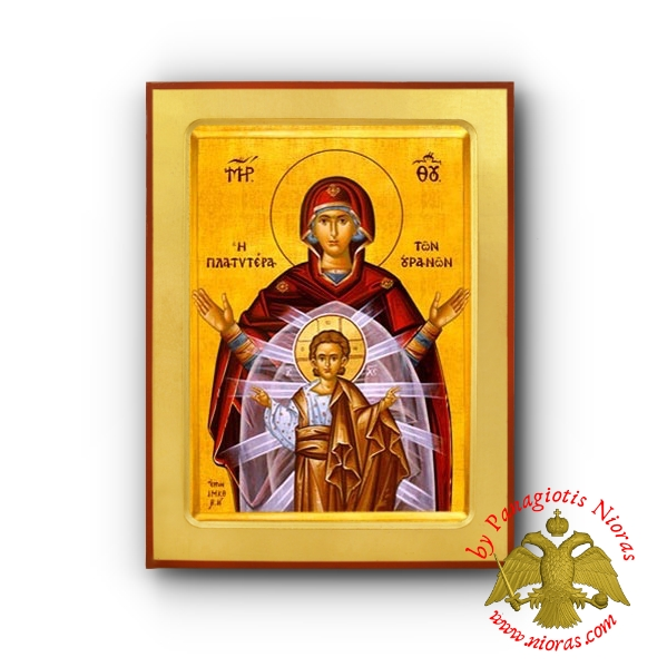 Holy Theotokos Panagia Platytera of Heavens Wooden Byzantine Icon
