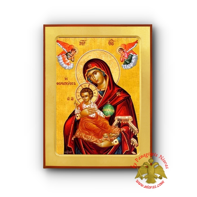 Holy Theotokos Panagia the Curer Wooden Byzantine Icon