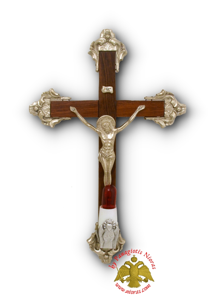 Orthodox Wooden Cross With Metal Christ Corpus and Electric Lamp 20x30cm