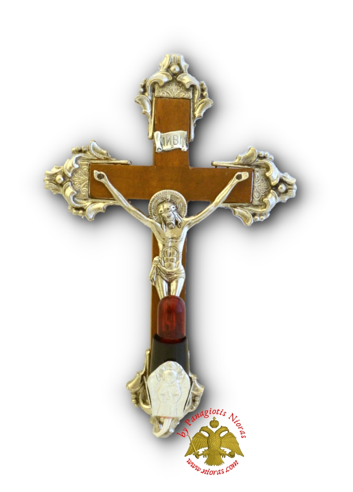 Orthodox Wooden Cross With Metal Christ Corpus and Electric Lamp 17x25cm