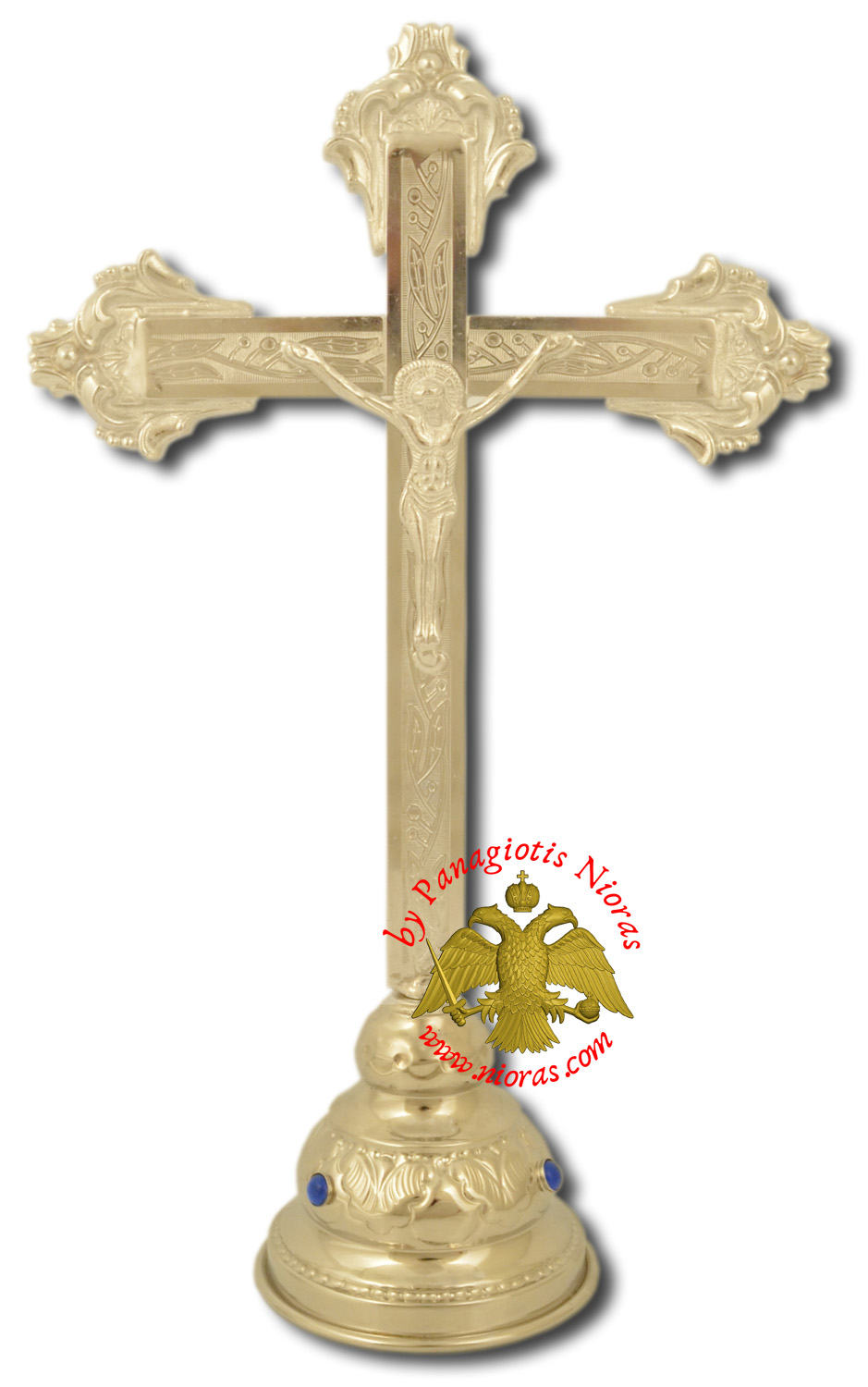 Decorated Metal Cross Jesus with Base Nickel 14x30cm
