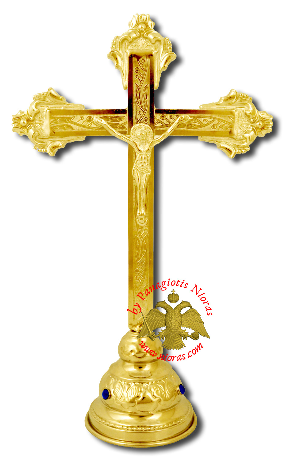 Decorated Metal Cross Jesus with Base Gold Plated 14x30cm