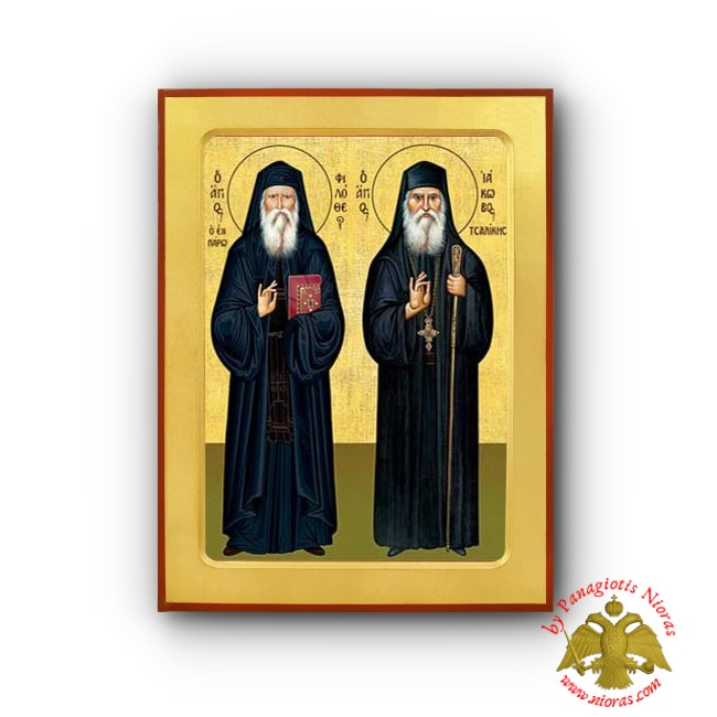 Saint James Tsalikes and Saint Filotheos Zervakos  Byzantine Wooden Icon of Euboea