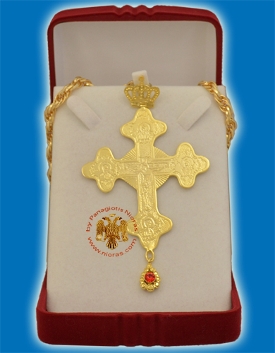 Pectoral Cross Gold Plated Byzantine Style 8x8cm