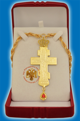 Pectoral Cross Gold Plated Russian Style 8x8cm
