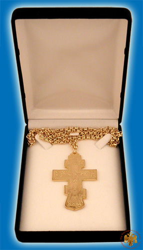Pectoral Engraved Cross Gold Plated Russian Style 4x6.5cm