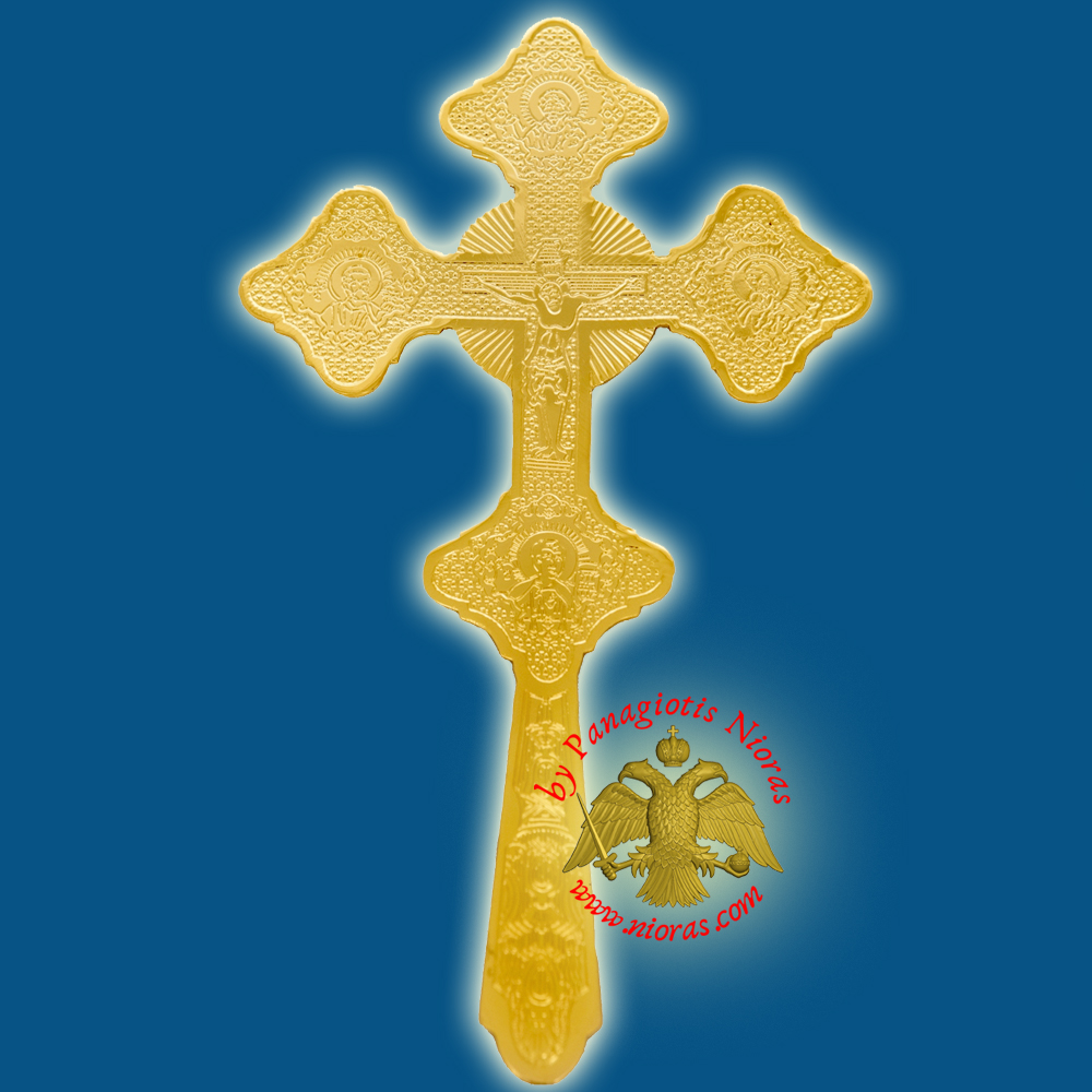 Orthodox Byzantine Blessing Cross Inlined Gold Plated Made in Greece 24x15cm