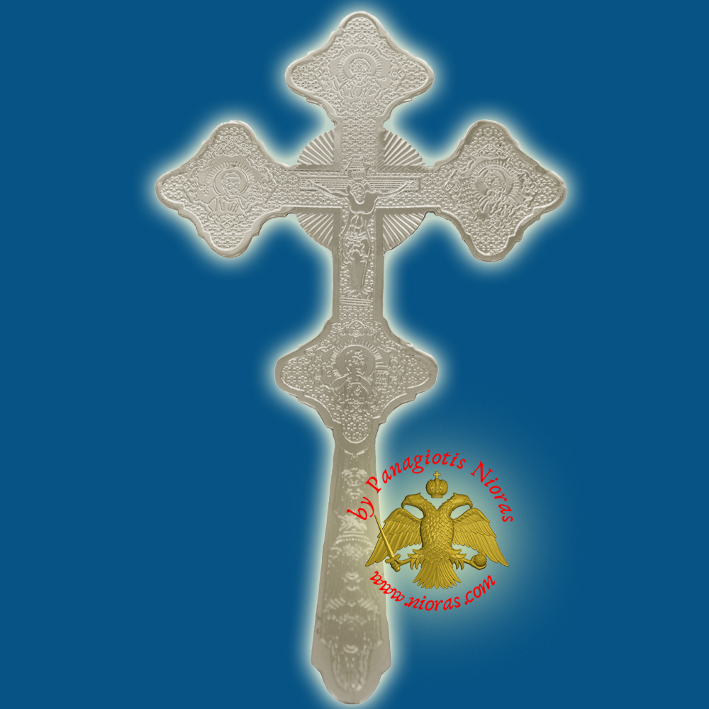 Orthodox Byzantine Blessing Cross Inlined Nickel Plated Made in Greece 24x15 cm