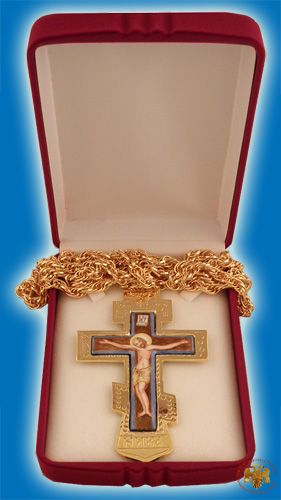Pectoral Engraved Cross Gold Plated Russian Style with Enamel