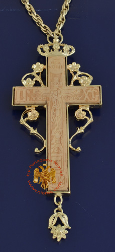 Pectoral Cross for Priest Gold Plated Engraved Pyrography Crucifixion in the Front 5x8cm