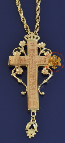 Pectoral Cross for Priest Gold Plated Engraved Pyrography Crucifixion in the Front 4x6cm